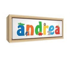 Little Helper LHV-ANDREA-3084-FCNAT-15IT Stampa su Tela Incorniciata Legno Naturale, Disegno Personalizzabile con Nome da Ragazzi Andrea, Multicolore, 34 x 88 x 3 cm