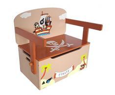 Kiddi Style Pirata Cassapanca Porta Giocattoli Convertibile Panca in Tavolo con Sedia per bambini in Legno