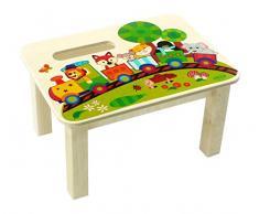 Hess Giocattoli di legno 30289 Poggiapiedi in legno, Ferrovia, circa 34 x 25 x 19 cm, Multicolore