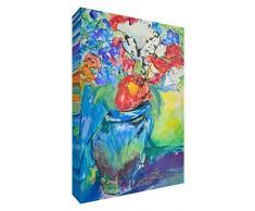 Feel Good Art-Tavoletta su tela, con pannello frontale Gallery Wrapped Blooming grande vaso di fiori dellartista Valerie Johnson, 30 x 20 x 4 cm, misura S