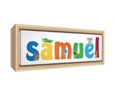 Little Helper LHV-SAMUEL-1542-FCNAT-15IT Stampa su Tela Incorniciata Legno Naturale, Disegno Personalizzabile con Nome da Ragazzi Samuel, Multicolore, 19 x 46 x 3 cm