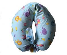 Merrymama- Cuscino allattamento + fodera con lacci/cm 130 (imbottito in microgranuli di polistirene),zoo sfondo azzurro
