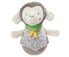Fehn 061154 - Pupazzo a forma di pecora, in morbido peluche, giocattolo educativo con campanelle e funzione piedistallo per giocare e suonare, adatto per neonati e bambini dai 0 mesi in su