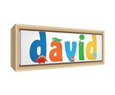 Little Helper LHV-DAVID-3084-FCNAT-15IT Stampa su Tela Incorniciata Legno Naturale, Disegno Personalizzabile con Nome da Ragazzi David, Multicolore, 34 x 88 x 3 cm