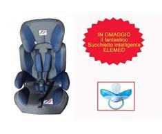 Elemed 123BG-BP2002F Seggiolino Auto Racing + Succhietto Intelligente Fisiologico Misura 2 Omaggio, Blu