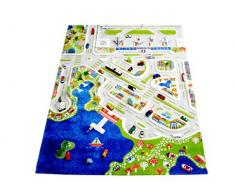 IVI NB/121MD034134180-IT Tappeto Ipoallergenico da Gioco in 3D per Bambini con MotivoCittà Colorata, Multicolore, 134 x 180 cm