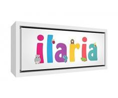 Little Helper LHV-ILARIA-2159-FCWHT-15IT Stampa su Tela Incorniciata Legno Bianco, Disegno Personalizzabile con Nome da Ragazza Ilaria, Multicolore, 25 x 63 x 3 cm