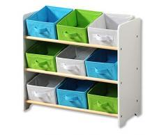 Kesper 17716 13 bambini di conservazione Scaffale con 9 scatole in tessuto, Bianco