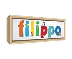 Little Helper LHV-FILIPPO-2159-FCNAT-15IT Stampa su Tela Incorniciata Legno Naturale, Disegno Personalizzabile con Nome da Ragazzi Filippo, Multicolore, 25 x 63 x 3 cm