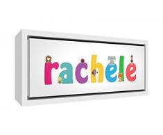 Little Helper LHV-RACHELE-2159-FCWHT-15IT Stampa su Tela Incorniciata Legno Bianco, Disegno Personalizzabile con Nome da Ragazza Rachele, Multicolore, 25 x 63 x 3 cm