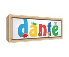 Little Helper LHV-DANTE-3084-FCNAT-15IT Stampa su Tela Incorniciata Legno Naturale, Disegno Personalizzabile con Nome da Ragazzi Dante, Multicolore, 34 x 88 x 3 cm