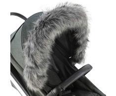 For-Your-Little-One - Cappuccio in pelliccia compatibile con passeggino, colore: grigio scuro