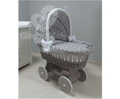 ComfortBaby 00071211-92LG - Culla con rotelle Snuggly, completa di accessori, certificata e sicura (grigio - grigio con stella bianca)