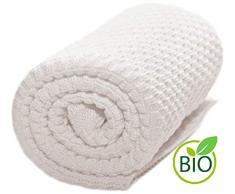 Wallaboo Coperta ultra morbida per bambini Eden, puro 100% cotone bio, Dimensione 90 x 70 cm, lavorata a maglia, per lettino, Colore: Bianca