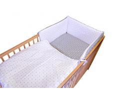cosing 332 - 032 - 143 bambini biancheria da letto set sleeplease cotone 3 pezzi - A quadri, colore: bianco/grigio