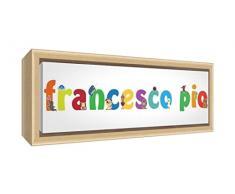 Little Helper LHV-Francesco PIO-1542-FCNAT-15IT Stampa su Tela Incorniciata Legno Naturale, Disegno Personalizzabile con Nome da Ragazzi Francesco pio, Multicolore, 19 x 46 x 3 cm