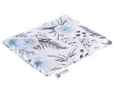 Cuscino con noccioli di ciliegia, grande cuscino termico, 500 g, rettangolare, 20 x 25 cm, ecologico, 100% cotone, Medi Partners, calore + terapia del freddo, terapia massaggiante (fiori grigi)
