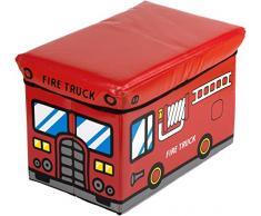 scatola di immagazzinaggio bieco con pompieri banco sgabello con lo spazio e coprire con imbottitura 47L rosso pieghevole 04.201.307