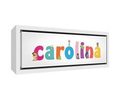 Little Helper LHV-CAROLINA-2159-FCWHT-15IT Stampa su Tela Incorniciata Legno Bianco, Disegno Personalizzabile con Nome da Ragazza Carolina, Multicolore, 25 x 63 x 3 cm