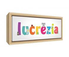 Little Helper LHV-LUCREZIA-2159-FCNAT-15IT Stampa su Tela Incorniciata Legno Naturale, Disegno Personalizzabile con Nome da Ragazza Lucrezia, Multicolore, 25 x 63 x 3 cm