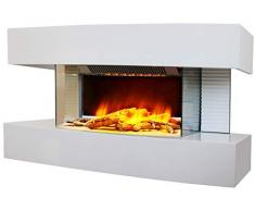 CheminArte 185 Lounge Medium Bianco Camino Elettrico Parete Design 82 x 21 x 42 cm