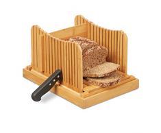 Relaxdays Affettatrice per Pane, Taglia Pane Regolabile, Toast & Dolci, in Bambù, Raccogli-Briciole, Naturale