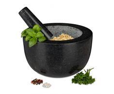 Relaxdays - Mortaio con pestello, in granito lucido, per spezie ed erbe, volume 750 ml, mortaio di pietra, diametro 20 cm, grigio scuro