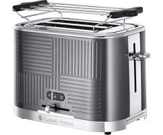 Russell Hobbs Geo Steel 25250-56 Tostapane, Funzione per scongelare, Griglia scalda panini, Acciaio Inox, Grigio