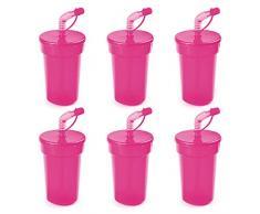 eBuyGB - Bicchiere con coperchio e cannuccia, 400 ml, plastica, rosa, Confezione da 6