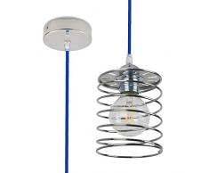 CD Cables-Spring-All, Lampada Sospensione, Pendel Colorato, Cavo Tessile Blu Da 2 Metri