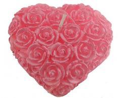 Mondial-fete - 1 candela a forma di cuore rosa, 7,5 cm