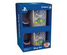 Paladone 55231514 Playstation Player One & Player Two Mug Set | Tazza da caffè in Ceramica | Modo Unico e Super Divertente per Bere la Tua Bevanda Preferita, 330 milliliters