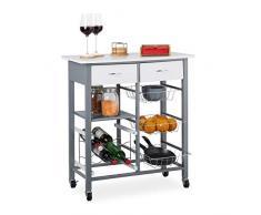 Relaxdays Carrello Portavivande Cucina, 2 Cassetti, 3 Cestelli, Portabottiglie di Vino, HLP: 84 x 76 x 40 cm, Bianco, Legno