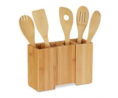 Relaxdays Portaposate da Cucina in bambù, 5 Cucchiai in Legno, Portautensili Allungabile, HLP 17x25x10 cm, Naturale