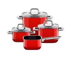 Silit Quadro Set di 4 Pentole in Silargan, Pentola per Arrosto, Pentole per Carne, Pentola per Salsa, Rosso
