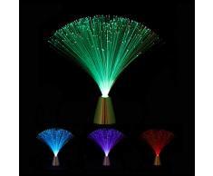 Relaxdays 10023771 Lampada a Fili in Fibra Ottica, Cambia Colore, LED dal Design Retrò, Effetti Luci Multicolore, 33 Cm, Colorata