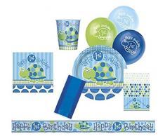 Unique Party 83171 - Kit Festa di 1° Compleanno Tartaruga Blu per 8 Persone