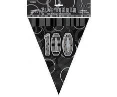 Unique Party 55378 - 3.6 m Foil Nero Brillante Bandierine di 100° Compleanno
