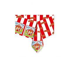 Big Party- Circus Tovaglia in PVC per Feste Compleanni, Colore Bianco/Rosso, 14777