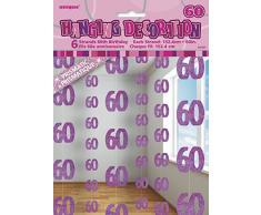 Unique Party 55327 - 1.5 m Decorazioni da Appendere per 60° Compleanno Rosa Brillante, Confezione da 6