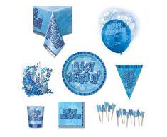 Unique Party 80828 - Kit Festa di Compleanno per 8 Persone, Blu Brillante
