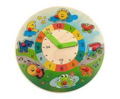 Hess 14816 - Bambino Giocattolo in Legno Learning Clock Paesaggio/Puzzle