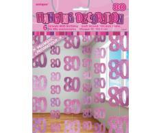 Unique Party 55367 - 1.5 m Decorazioni da Appendere per 80° Compleanno Rosa Brillante, Confezione da 6