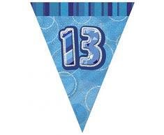 Unique Party 92079 - 2,7 m Foil Blu Brillante Bandierine di 13° Compleanno