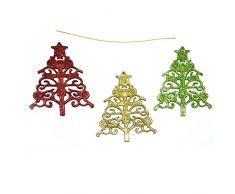 Gifts 4 All Occasions Limited Shatchi - Decorazione da appendere per albero di Natale, 3 pezzi