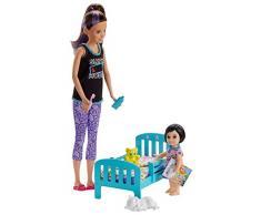 Barbie- Skipper Babysitter Playset Nanna, Lettino e Accessori, Giocattolo per Bambini 3+ Anni, GHV88