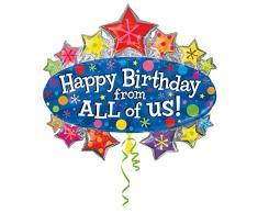 Anagram 2193201 - Decorazioni e party - Foil balloon Supershape - Buon compleanno, circa 79 x 71 cm