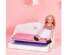 Letto Estraibile Gioco Legno mobili per Bambole da 45 cm Olivias World TD-0096A