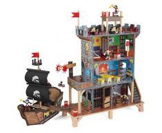 KidKraft 63284 Set di Gioco in Legno per Bambini Pirates Cove con Galeone Pirata e Scrigno del Tesoro - 17 Pezzi Inclusi