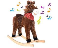 BAKAJI Cavallo a Dondolo per Bambini con Suoni Realistici Struttura in Legno e Tessuto Peluche di qualità Giochi Infanzia (Marrone)
